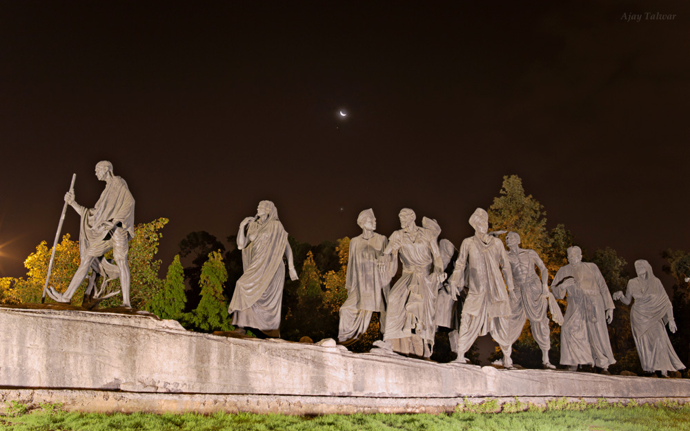 Above an Icon: Venus, Jupiter and Moon Shine Over Gandhi