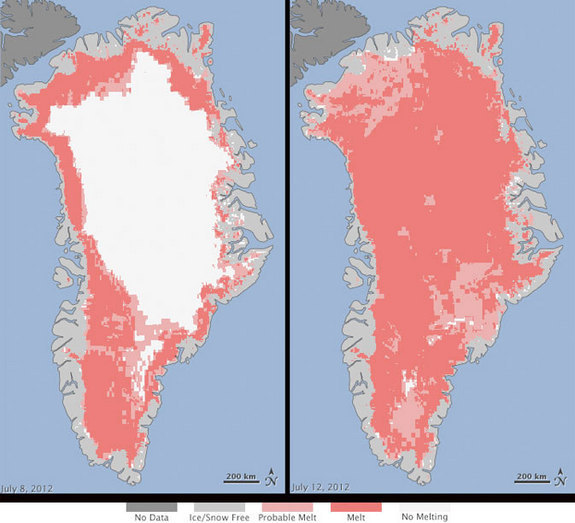 Extent of surface melt over Greenland's ice sheet on July 8 (left) and July 12 (right) based on data from three satellites. (Light pink: probable melt, meaning at least one satellite showed melt; dark pink: melt, meaning two to three satellites showed melt.