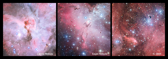 These spectacular panoramic views show parts of the Carina Nebula (left), the Eagle Nebula (center) and IC 2944 (right). These star-forming regions contain many hot young stars, including several bright O-type stars. The O stars that were included in a survey using ESO's Very Large Telescope are circled. Many of these stars were found to be close pairs, and such binaries often transfer mass from one star to the other.