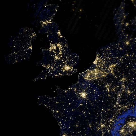 In this image, taken by the Suomi NPP satellite on March 27, 2012,the lights in the Irish Sea and the North Sea are likely a blend of fishing vessels and flares from offshore oil and gas platforms.