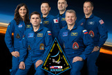 The International Space Station's Expedition 33 crew. From left: NASA astronaut Sunita Williams, Russian cosmonaut Yuri Malenchenko, Japannese astronaut Akihiko Hoshide, Russian cosmonauts Evgeny Tarelkin and Oleg Novitskiy and NASA astronaut Kevin Ford.