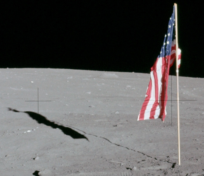 Apollo 12 Deployed Flag and Shadow Seen by Lunar Reconnaissance Orbiter