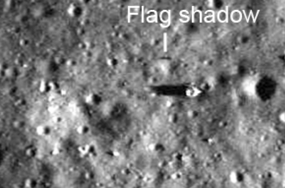 Detail from an Apollo 17 photo showing the deployed American flag and its shadow. The photo was taken Dec. 11, 1972.