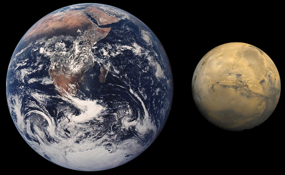 Mars is about half the size of Earth in diameter.