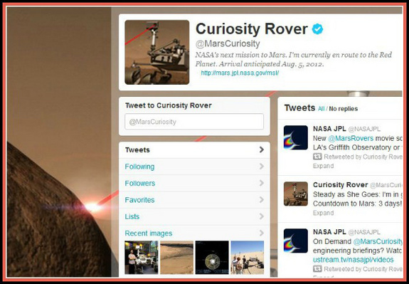 Curiosity Rover is known as @MarsCuriosity on the social media service Twitter.
