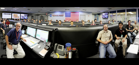 The  Mission Support Area at NASA's Jet Propulsion Laboratory in Pasadena, Calif., is shown in this panorama, ahead of the Mars rover Curiosity landing. The room will be the hub of activity on Aug. 5, 2012, as mission team members monitor the careful and intricate entry, descent and landing Curiosity on Mars.