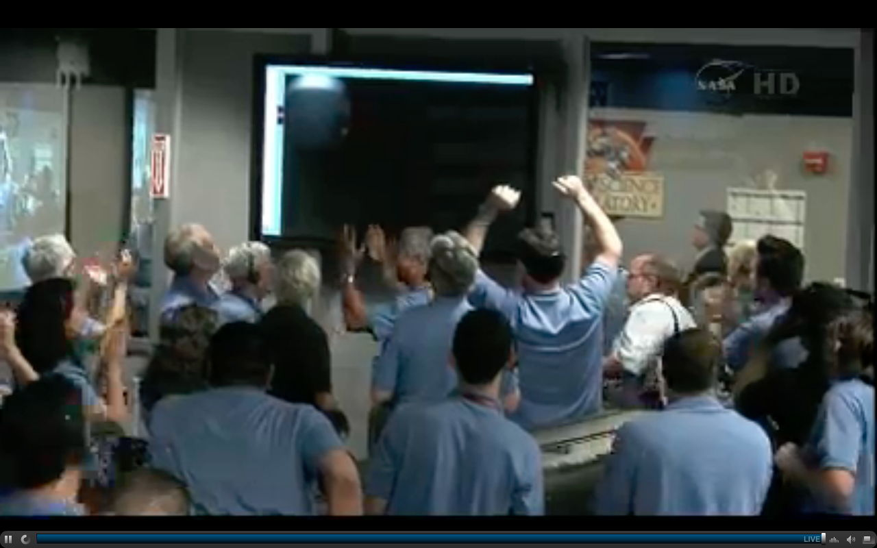 MSL Team Members See First Thumbnail from Curiosity Rover on Mars