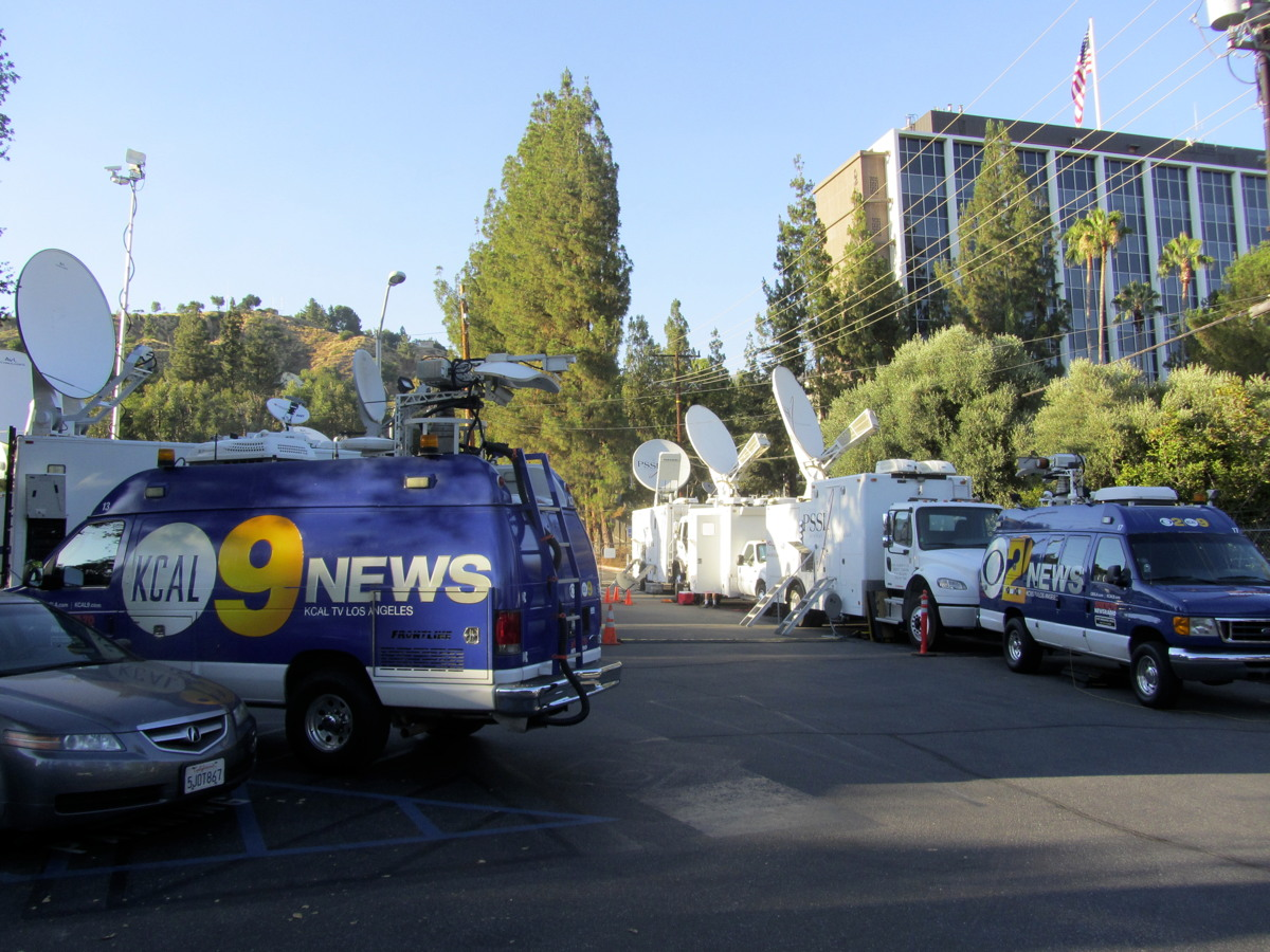 News Trucks in the JPL Parking Lot