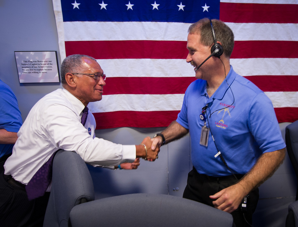 NASA Chief Charles Bolden Congratulates Team Member
