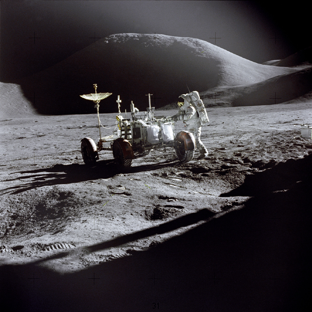 Space History Photo: Irwin Next to Rover
