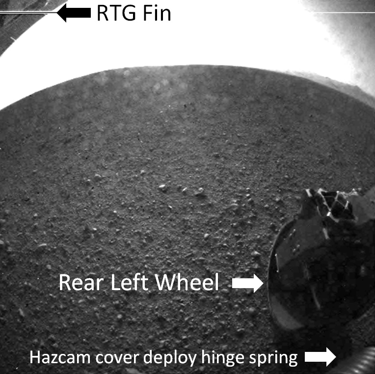 Annotated Image of Curiosity's Rear View