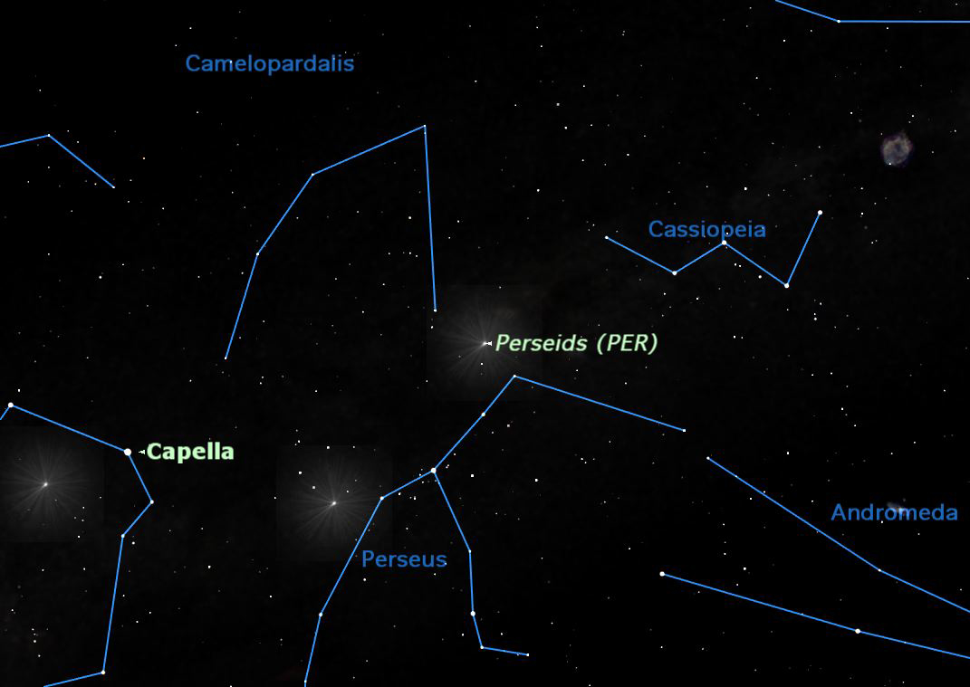 2012 Perseid Meteor Shower Map