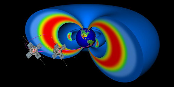 Artist's rendering showing two spacecraft representing the Radiation Belt Storm Probes that will study the sun and its effects on Earth.