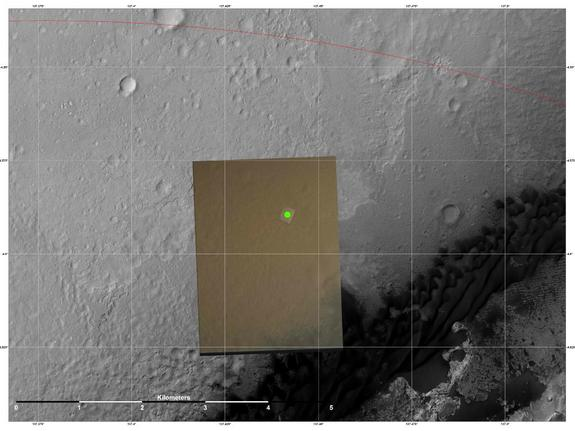 This image shows the location (green) where scientists estimate NASA's Curiosity rover landed on Mars within Gale Crater, based on images from the Mars Descent Imager (MARDI). The landing estimates derived from navigation and landing data agree to within 660 feet (200 meters) of this MARDI estimate.