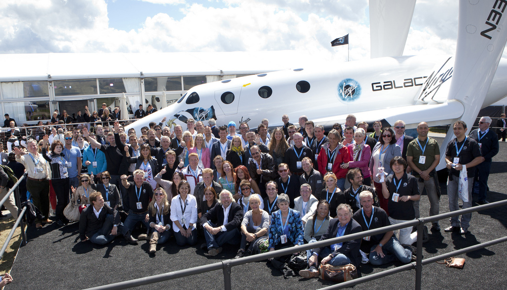Sir Richard Branson at Farnborough with the Virgin Galactic Future Astronauts