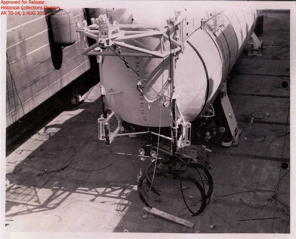 The Trieste II bathysphere with recovery hook attached was used to retrieve the sunken HEXAGON recovery vehicle in 3 secret attempts 1971-72. Image released August 8, 2012.