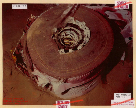The damaged HEXAGON spy satellite film stack sits on the ocean floor, before the 1972 U.S. recovery effort. Image released August 8, 2012.