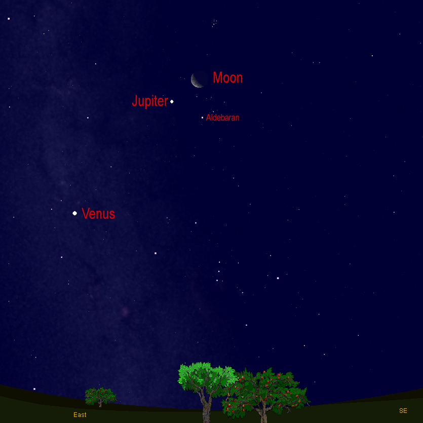Jupiter and Crescent Moon Shine in Saturday's Predawn Sky