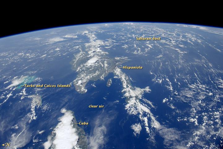 Astronaut Photo: Sahara Dust Enters Caribbean Skies