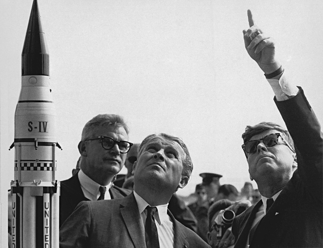 Space History Photo: Seamans, von Braun and President Kennedy at Cape Canaveral