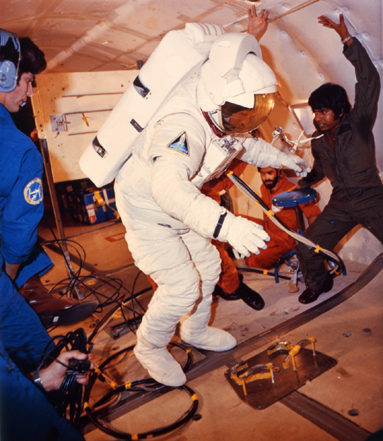 Space History Photo: Astronaut Fullerton Suited for Training Exercises on KC-135