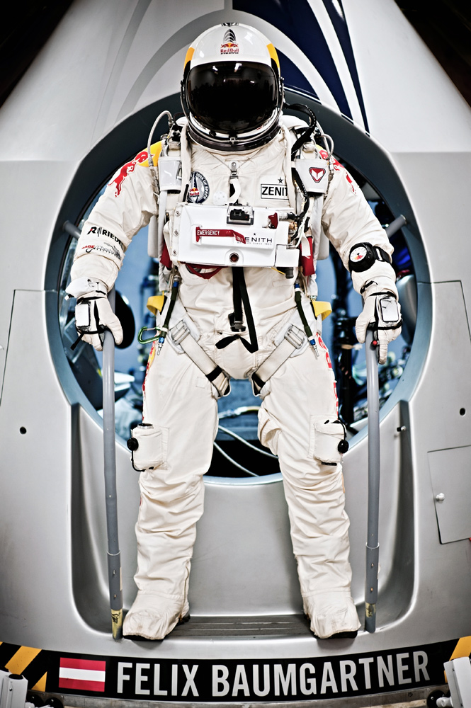 Baumgartner Stands on Red Bull Stratos Capsule
