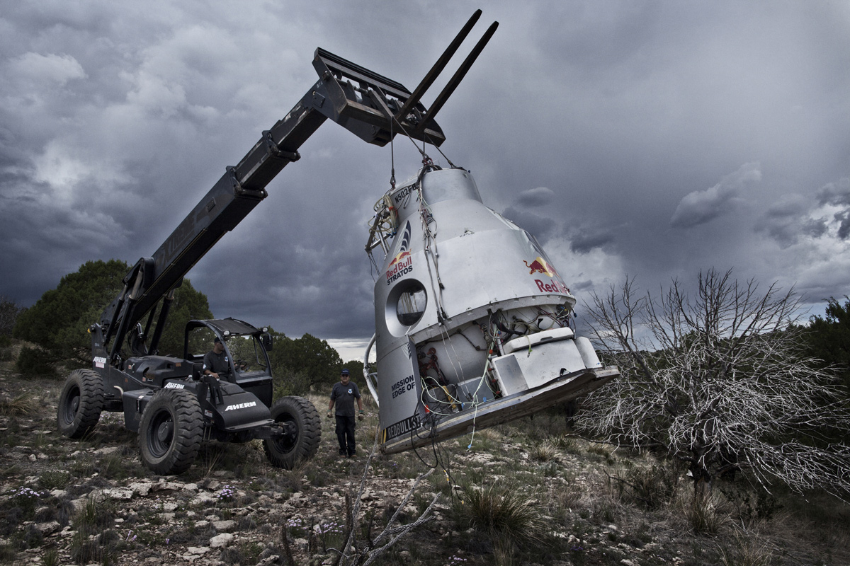 Damaged Red Bull Stratos Capsule Lifted