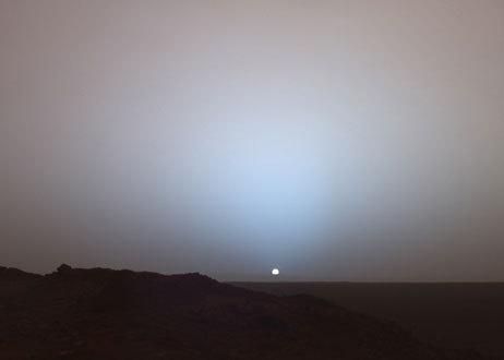 Photo of sunset on Mars taken by NASA's Spirit rover in 2005.