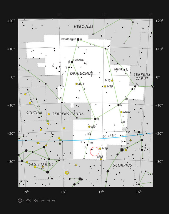 This chart shows the location of Barnard 59 in the constellation of Ophiuchus (The Serpent Bearer). This map shows most of the stars visible to the unaided eye under good conditions, and Barnard 59 itself is highlighted with a red circle on the image. This dark nebula is part of the Pipe Nebula, which appears as a dark feature in the Milky Way and can be seen well with the unaided eye under good conditions.