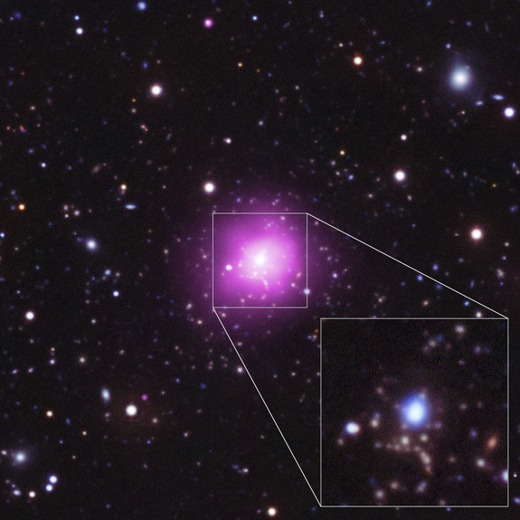 Optical/UV/X-ray composite view of the Phoenix Cluster, with a pull-out from the central region to optical/UV image. Image released August 15, 2012.