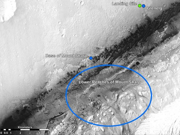 This image from NASA's Mars Reconnaissance Orbiter shows the Curiosity rover landing and destinations scientists want to investigate. The rover's first driving target is the region marked by a blue dot that is nicknamed Glenelg. Released Aug. 17, 2012.