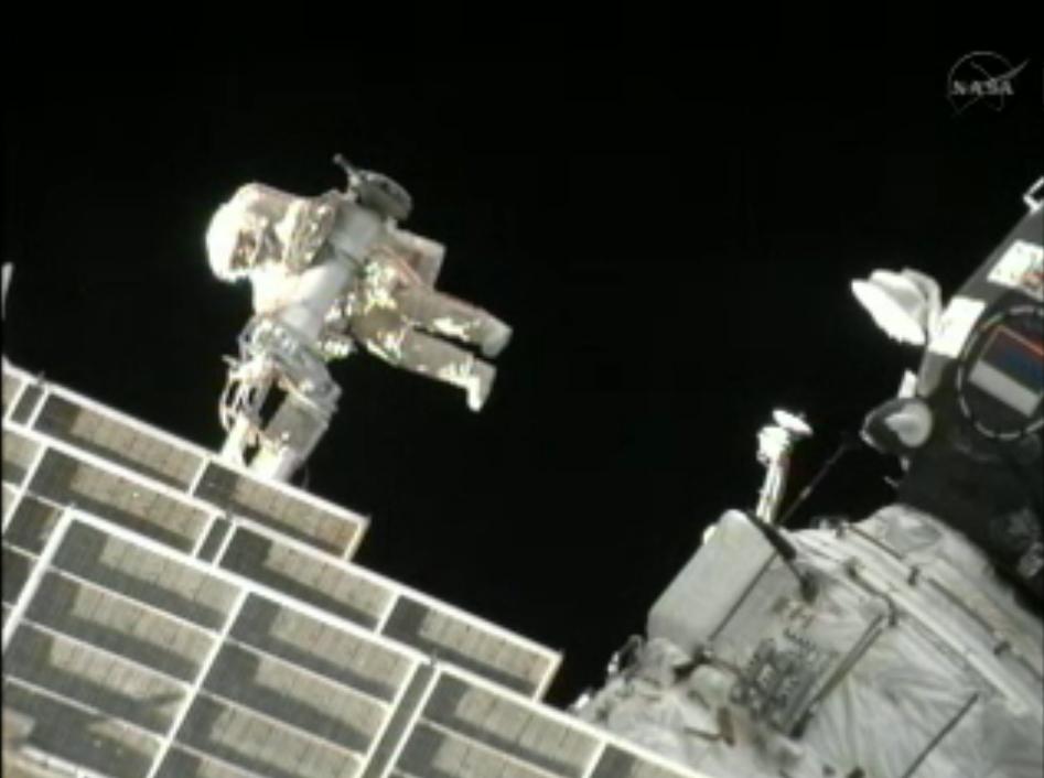 Cosmonaut on Space Crane