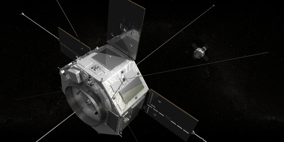 An artist's rendition of what the two Radiation Belt Storm Probe spacecraft will look like in space.