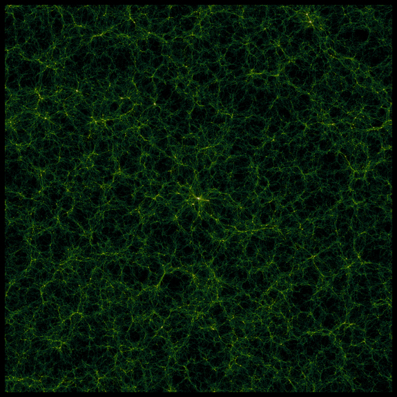 This image of the large-scale universe is a slice from a large simulation called 'GiggleZ' which complements the WiggleZ survey. It shows a snapshot of the large-scale matter distribution. Released Aug. 21, 2012.