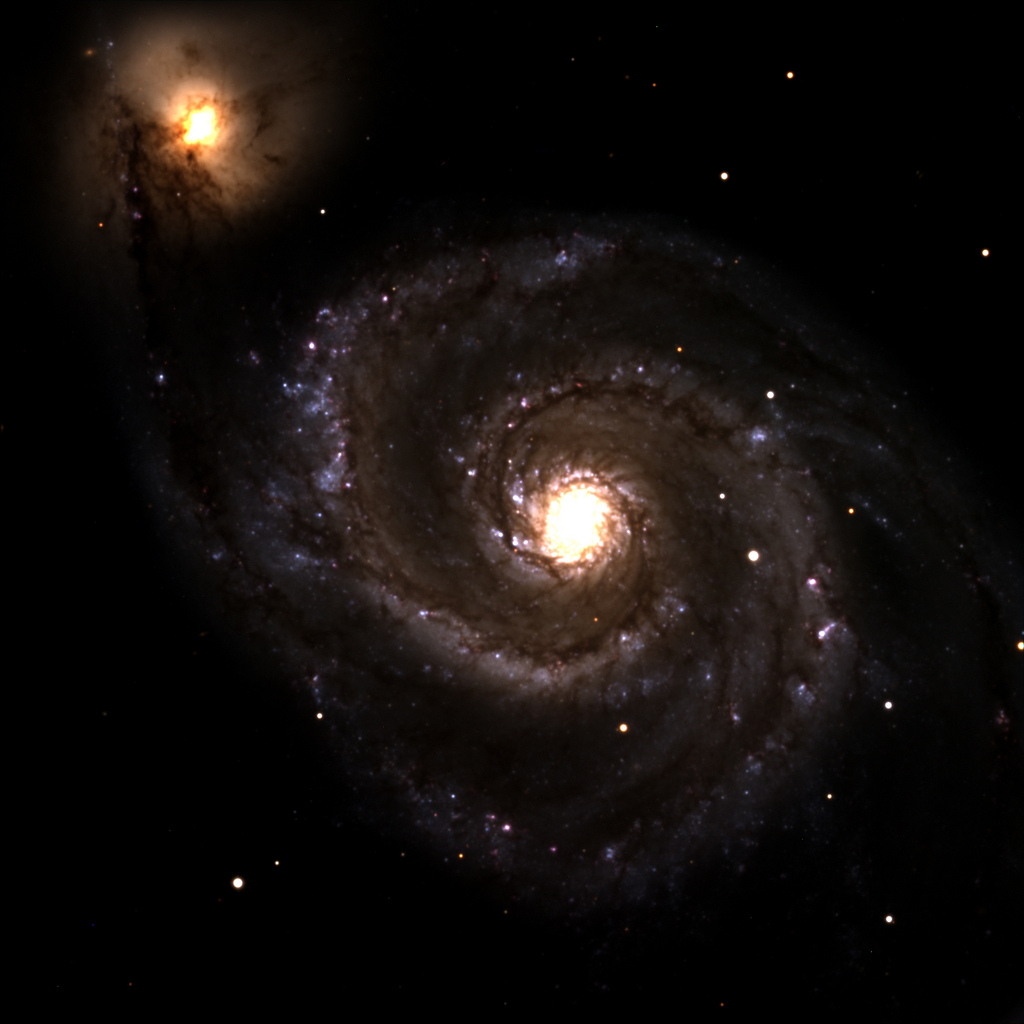 Discovery Channel Telescope First Light Image: M51, The Whirlpool Galaxy