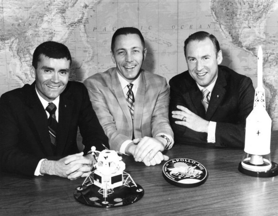 Fred Haise (left), Jack Swigert, and Jim Lovell pose on the day before launch. Swigert had just replaced Ken Mattingly as command module pilot after Mattingly was exposed to German measles.