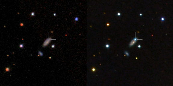 Left: Host galaxy of PTF11kx before the supernova exploded, as seen from the Sloan Digital Sky  Survey. Right: The blue dot is the supernova near peak brightness, as seen with LCOGT's  Faulkes Telescope North. Released Aug. 23, 2012.
