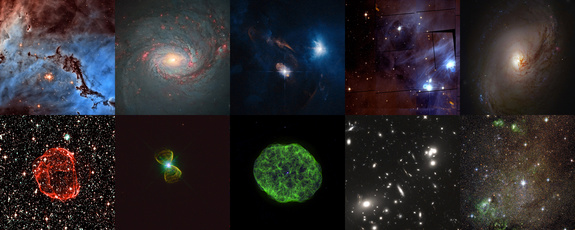This image shows the top ten images entered into the Hubble's Hidden Treasures image processing competition: Top row: NGC 1763 by Josh Lake, M 77 by Andre van der Hoeven, XZ Tauri by Judy Schmidt, Chamaeleon I by Renaud Houdinet, M 96 by Robert Gendler.Bottom row: SNR 0519-69 by Claude Cornen, PK 111-2.1 by Josh Barrington, NGC 1501 by kyokugaisha1, Abell 68 by Nick Rose, IC 10 by Nikolaus Sulzenauer.