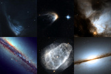 This image shows the top ten images entered into the Hubble's Hidden Treasures basic competition: Top row: NGC 6300 by Brian Campbell, V* PV Cephei by Alexey Romashin, IRAS 14568-6304 by Luca Limatola, NGC 1579 by Kathlyn Smith, B 1608+656 by Adam Kill. Bottom row: NGC 4490 by Kathy van Pelt, NGC 6153 by Ralf Schoofs, NGC 6153 by Matej Novak, NGC 7814 by Gavrila Alexandru, NGC 7026 by Linda Morgan-O'Connor.