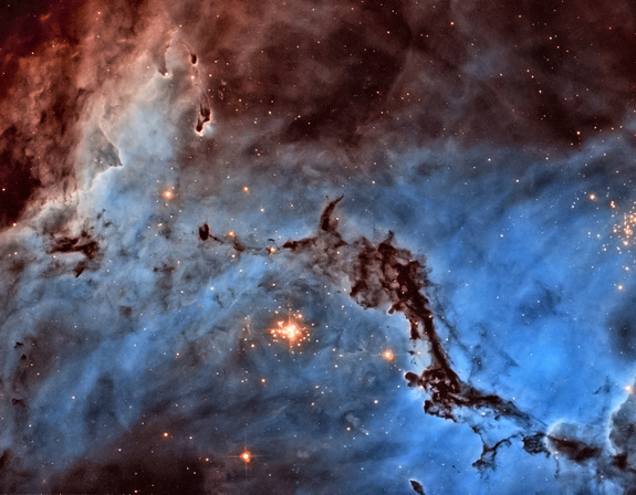Josh Lake (USA) submitted a stunning image of NGC 1763, part of the N11 star-forming region in the Large Magellanic Cloud. ESA/Hubble had previously published an image of an area just adjacent to this (heic1011), based on observations by the same team. Josh took a different approach, producing a bold two-colour image which contrasts the light from glowing hydrogen and nitrogen. The image is not in natural colours — hydrogen and nitrogen produce almost indistinguishable shades of red light that our eyes would struggle to tell apart — but Josh's processing separates them out into blue and red, dramatically highlighting the structure of the region. As well as narrowly topping the jury's vote, Josh Lake also won the public vote.