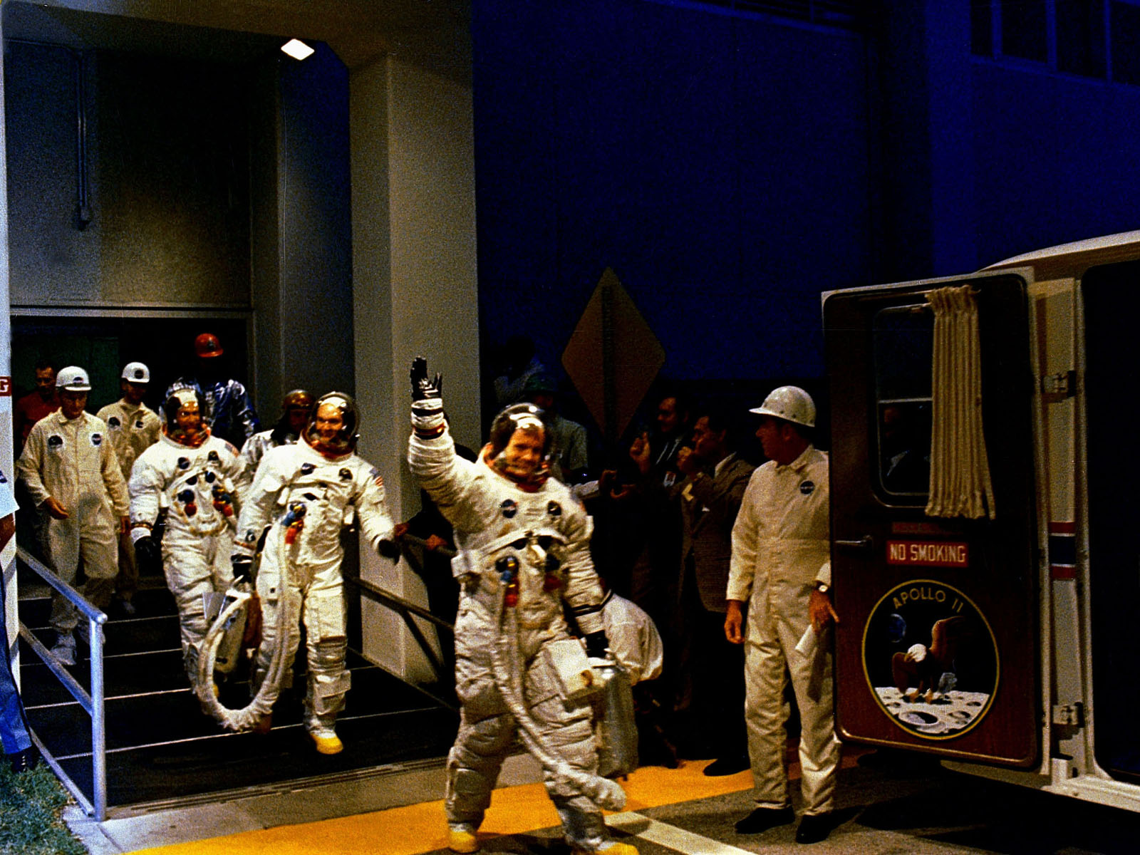Apollo 11 Crew Walks to Launch Pad