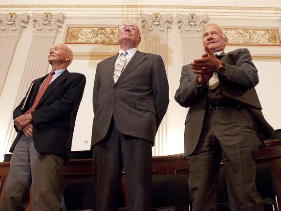 Apollo 11 astronauts, from left, Michael Collins, Neil Armstrong and Buzz Aldrin stand during a recognition ceremony at the U.S House of Representatives Committee on Science and Technology tribute to the Apollo 11 astronauts at the Cannon House Office Building on Capitol Hill, Tuesday, July 21, 2009, in Washington. The committee presented the three Apollo 11 astronauts with a framed copy of House Resolution 607 honoring their achievement, and announced passage of legislation awarding them and John Glenn the Congressional Gold Medal.