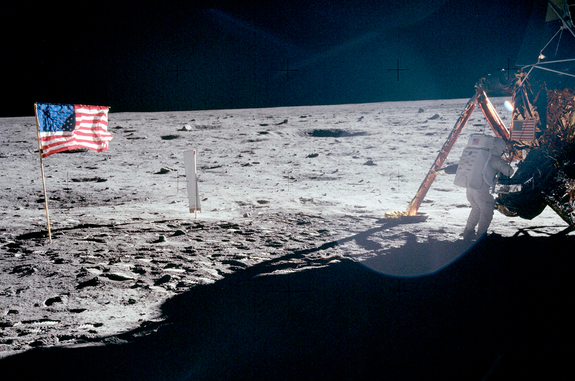 "The only full-body photograph of Neil Armstrong on the moon shows him working at the Apollo 11 lunar module ""Eagle"" on July 20, 1969. The first man to set foot on the lunar surface was inadvertently captured on film by Buzz Aldrin, who was tasked with taking a series of panoramic photos."