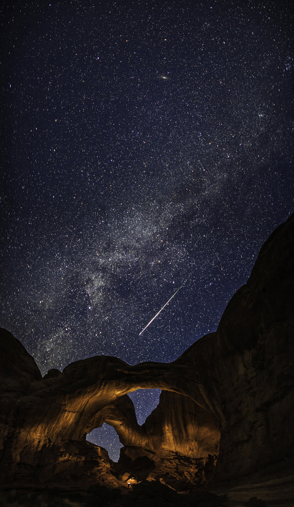 Double Arch with a Perseid Meteor and the Milky Way by Thomas O'Brien
