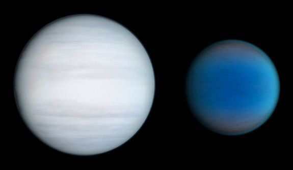 This artist's illustration shows a comparison of the two alien planets discovered to orbit twin stars in the Kepler-47 system. The smaller planet is up to 4.6 times the Earth's diameter. The larger world is likely slightly larger than Uranus.