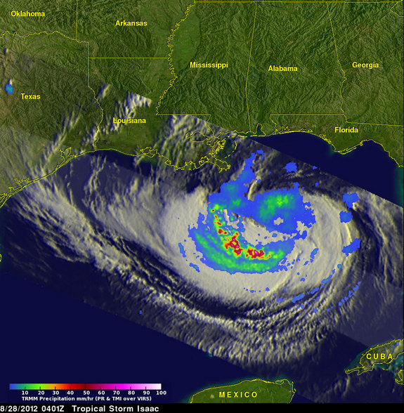 NASA's TRMM satellite captured this image of Isaac as it was approaching the northern Gulf coast at 4:01 UTC, August 28 (12:01 EDT). Heavy rainfall is shown in red, moderate rain in green and light rain in blue.
