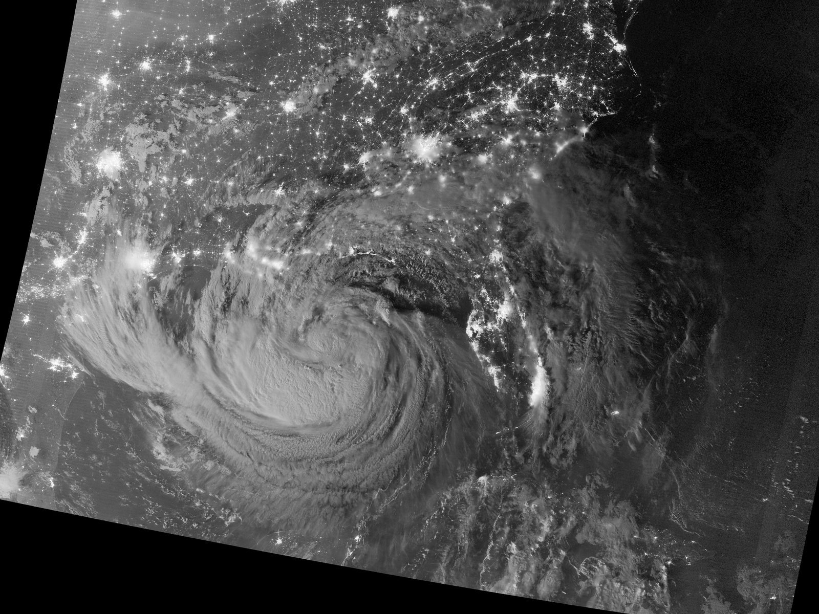 Tropical Storm Isaac From Space at Night