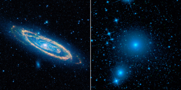 WISE Images of Andromeda, Fornax Galaxies