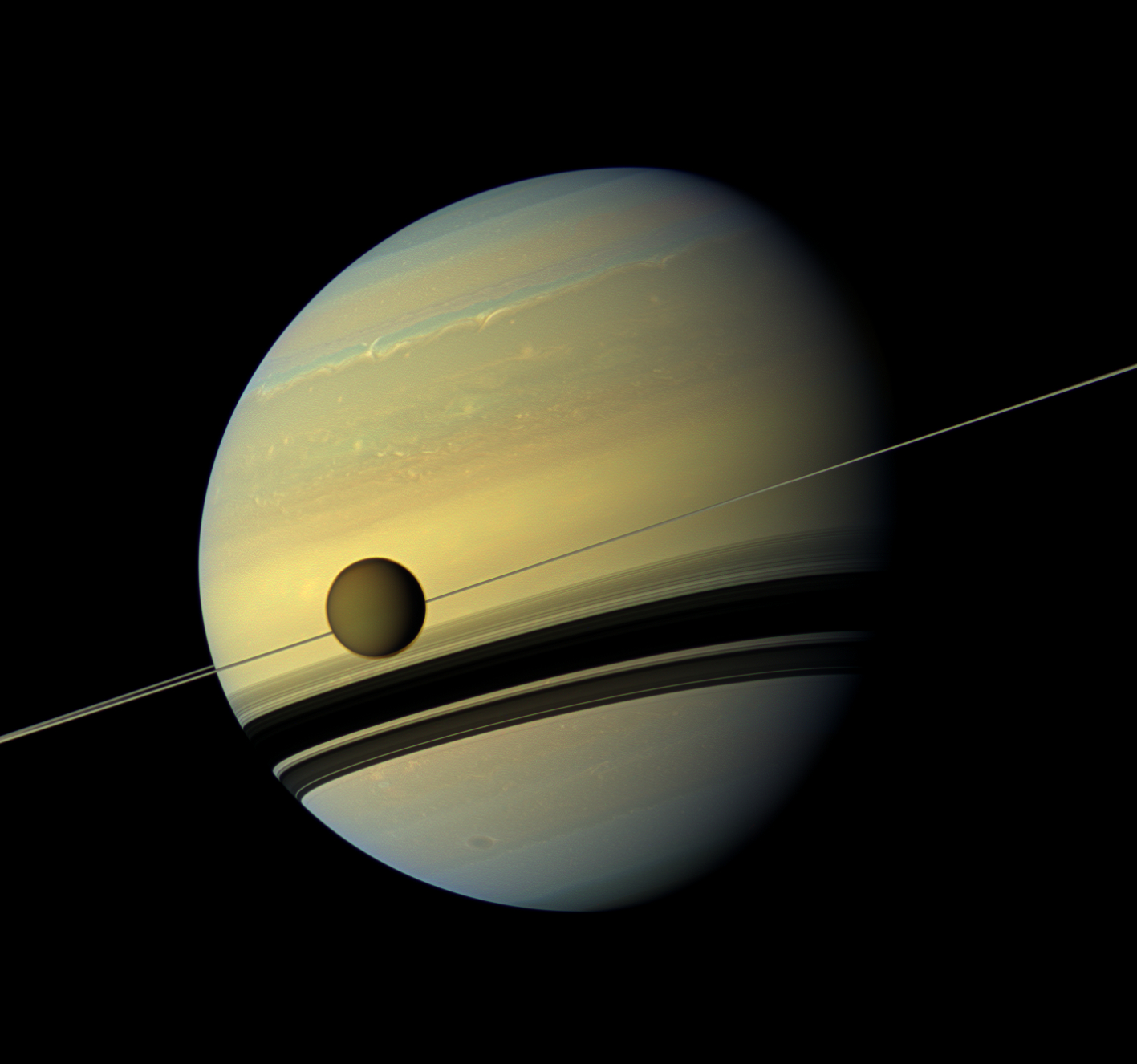 Titan, Saturn and Its Rings