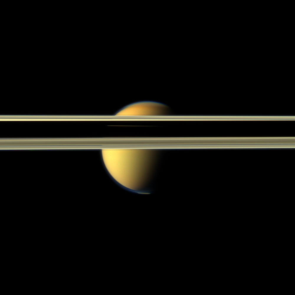 Titan Obscured by Saturn's rings